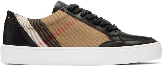 Burberry Black Salmond Check Sneakers