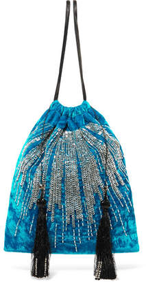 ATTICO Tasseled Embellished Velvet Pouch - Blue