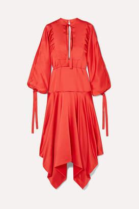 Self-Portrait Tie-detailed Asymmetric Satin Midi Dress - Red