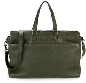 Valentino Slim Pebbled-Leather Briefcase