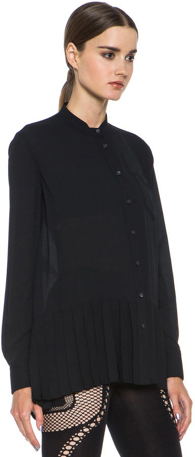 McQ Pleated Shirt in Black