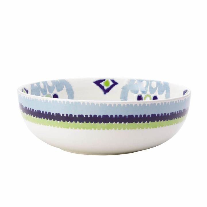 Rachael Ray Dinnerware Ikat 10 in. Stoneware Serving Bowl in Blue Print