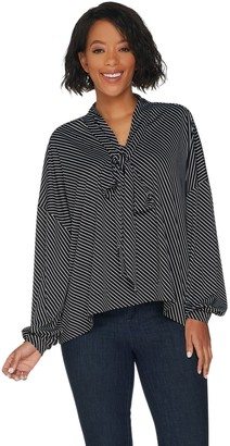 Laurie Felt Long Sleeve Scarf Drape Blouse