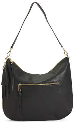 Leather Pebbled Top Zip Hobo Bag