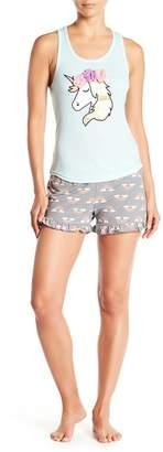 Couture PJ Unicorn & Rainbows Tank & Shorts 2-Piece Pajama Set