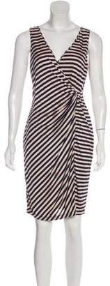 Andrew Marc Striped Ruched Knee-Length Dress