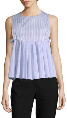 Romeo & Juliet Couture Women's Sleeveless Babydoll Pleat Top