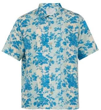 By Walid Sensu Floral Print Short Sleeved Silk Satin Shirt - Mens - Blue White