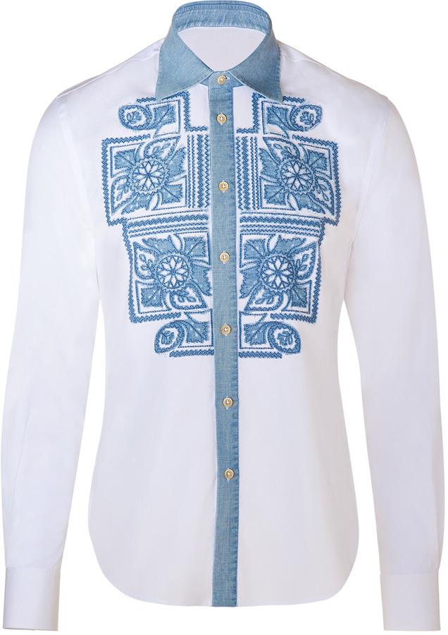 Ermanno Scervino White/Blue Cotton Embroidered Applique Shirt