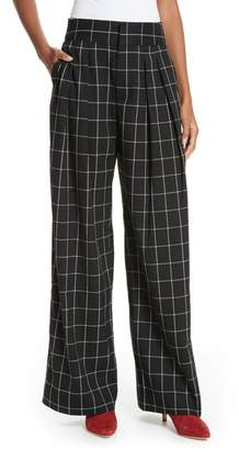 Joie Windowpane Check Wide Leg Pants