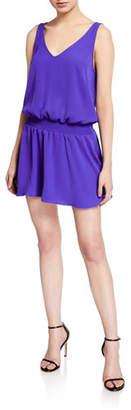 Amanda Uprichard Katia Smocked V-Neck Mini Dress