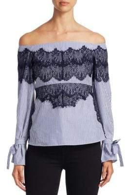Tanya Taylor Stripe Isadora Bell-Sleeve Cotton Top
