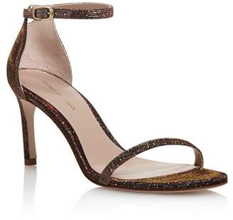 Stuart Weitzman Women's Nudisttraditional Sparkle Knit High-Heel Sandals