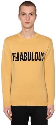 Fendi Two Tone Ffabulous Wool Intarsia Sweater