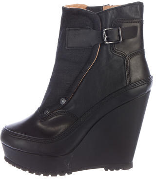G-Star RAW Leather Wedge Ankle Boots $80 thestylecure.com