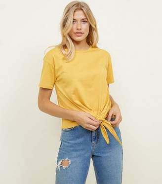 New Look Tall Mustard Tie Front T-Shirt