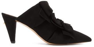 Osman Aadya Bow Embellished Suede Mules - Womens - Black