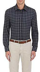 Luciano Barbera Men's Checked Cotton Button-Front Shirt-Black