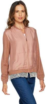 Logo By Lori Goldstein LOGO by Lori Goldstein Zip Front Woven Bomber Jacket w/ Knit Sleeves