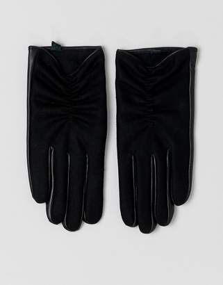 Asos Design DESIGN wool and leather mix glove