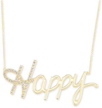 "Swarovski Simone I. Smith Crystal ""Happy"" Pendant Necklace in 18k Gold over Sterling Silver, 18"" + 4"" extender"
