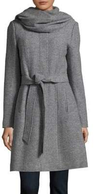Cole Haan Belted Wool Attached Scarf Coat