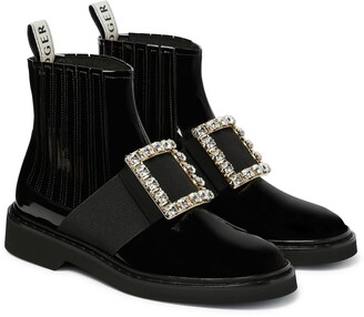 Roger Vivier Viv Rangers patent leather ankle boots