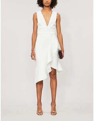 Lavish Alice Sleeveless asymmetric-hem stretch-crepe midi dress