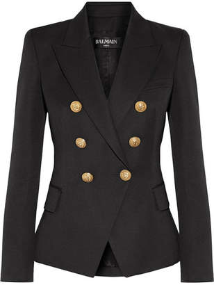 Balmain - Double-breasted Wool-twill Blazer - Black $1,995 thestylecure.com