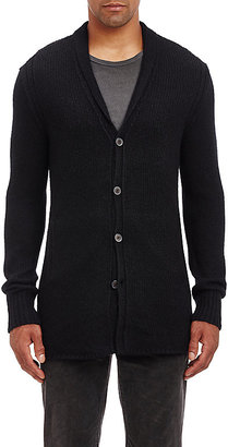 John Varvatos JOHN VARVATOS MEN'S REVERSE HIGH-LOW HEM CARDIGAN $998 thestylecure.com