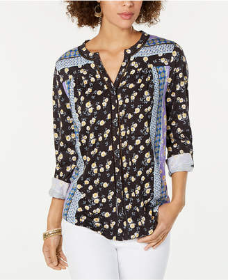 Style&Co. Style & Co Printed Button-Neck Top