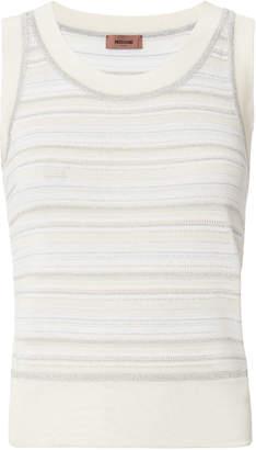 Missoni Metallic Striped White Knit Tank