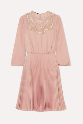 Prada Embellished Pleated Silk-georgette Midi Dress - Pastel pink