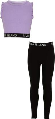 River Island Girls RI Purple crop top and leggings outfit
