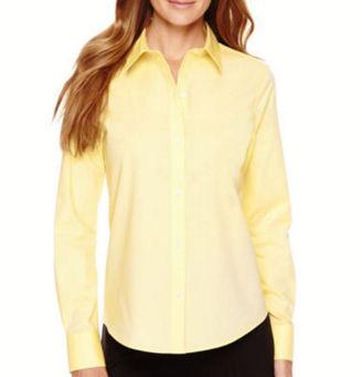 LIZ CLAIBORNE Liz Claiborne Long-Sleeve Button-Front Shirt - Tall $48 thestylecure.com