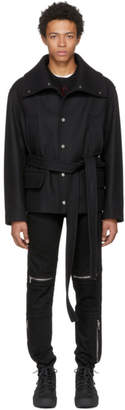 Versace Black Wool and Cashmere Wrap Coat