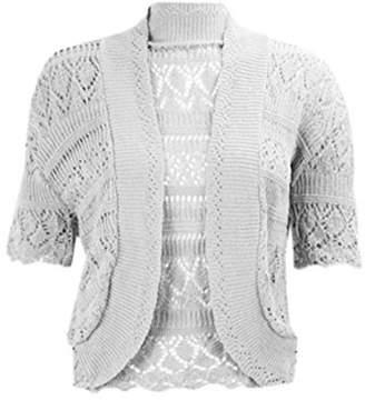 RIDDLED WITH STYLE Womens Chorochet Knitted Bolero Shrug Top Ladies Short Sleeve Cardigan Crop Top#( Knitted Bolero Shrug#US 6-8#Womens)