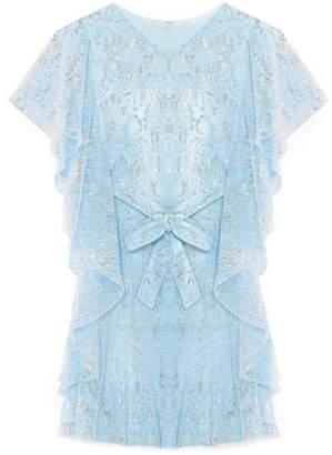 Yumi Girls Rose Patterned Metallic Dress