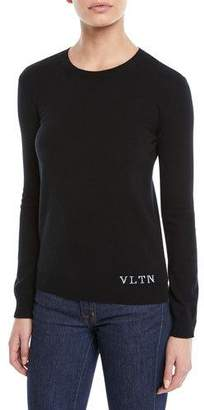 Valentino Crewneck Long-Sleeve Cashmere Pullover Sweater w/ VLTN on Bottom