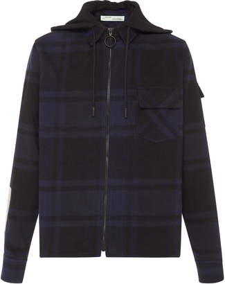Off-White Off White C/O Virgil Abloh Hooded Cotton-Flannel Shirt