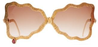 Francis De Lara - Teardrop Ruby, Amethyst & Gold Plated Sunglasses - Womens - Gold