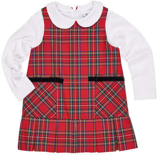 Florence Eiseman Tartan Plaid Jumper w/ Peter Pan-Collar Top, Size 9-24 Months