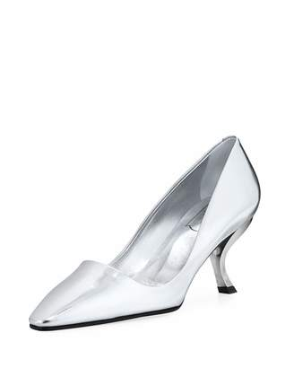 Roger Vivier Waxed Leather Pumps with Curved Heel
