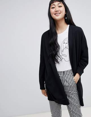 Monki longline jersey cardigan in black