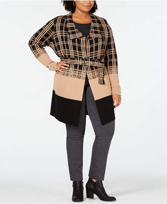 Belldini Black Label Plus Size Ombre Plaid Trench Cardigan