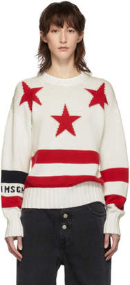 MSGM White and Red Stars Sweater