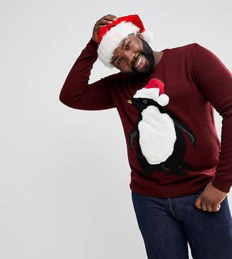 at asos original penguin threadbare plus furry christmas jumper