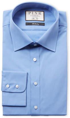Thomas Pink Blue Solid Slim Fit Dress Shirt
