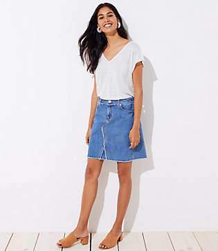 LOFT Petite Frayed Denim Skirt