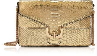 Coccinelle Ambrine Platinum Metallic Python Print Leather Clutch W/Chain